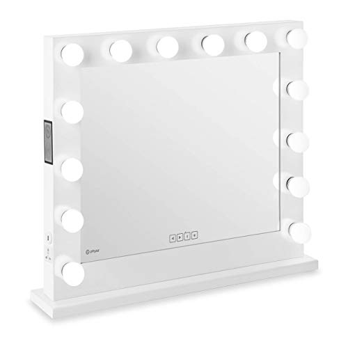 Physa Espejo Hollywood De Maquillaje Phy-CMS-8 White (Marco Blanco, 14 Bombillas LED 6.400 K / CRI 80, Rectangular, con Enchufe, Altavoz y USB)