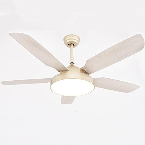 Luz De Ventilador, Luz De Techo De Techo LED, 52in, Araña De Decoración Interior Silenciosa, Luz De Tres Tonos, Hoja De Madera