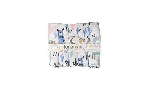 Lunanino Nuestros baberos de 5 unidades (25 x 25 cm) están hechos de algodón 100% natural, orgánico y respetuoso con el medio ambiente y cuentan con el certificado Oeko-Tex.