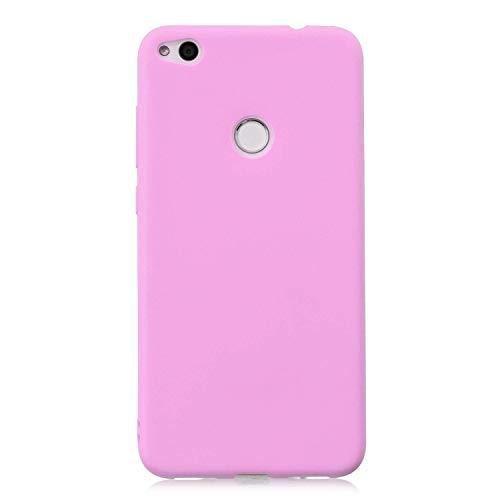 cuzz Funda para Huawei P8 Lite (2017)+{Protector de Pantalla de Vidrio Templado} Carcasa Silicona Suave Gel Rasguño y Resistente Teléfono Móvil Cover-Rosa Oscuro