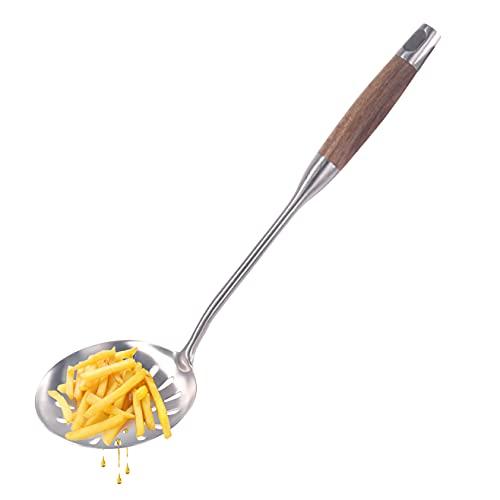 Newness Schaumlöffel 39.5 cm, Schöpflöffel aus 304 Edelstahl, Schaumkelle Schöpflöffel Schaumlöffel mit Holzgriff, Küche Schaumlöffel zum Kochen und Frittieren, Spülmaschinengeeignet