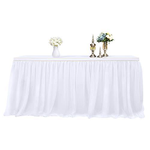 MineSha Handmade 2 Yards 3 Schichten Mesh Fluffy Tutu Tüll Tisch Rock für Party, Hochzeit, Geburtstagsfeier, Baby Dusche Dekoration (L 9Fuß * H 30 inch, Weiß)