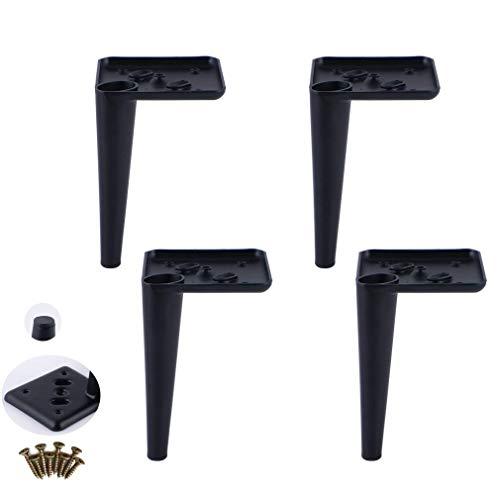 DX Metalen meubelpoten voor de keuken, bijzettafel, tv-kast, bed, commode, verdikingsstrijkijzer, draagvermogen 400 kg, 3 kleuren, 4 stuks (zilver, 150 mm)