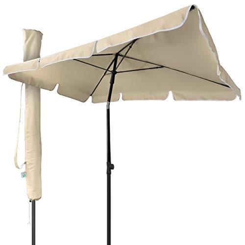 VOUNOT Sonnenschirm Rechteckig für Balkon und Terrasse, 200 × 125 cm, Knickbarer Balkonschirm, Sonnenschutz UV 50+, Beige