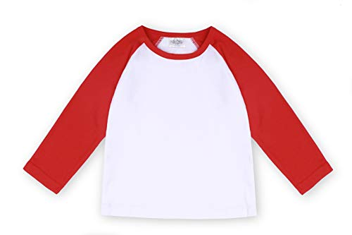 Toddler Baby Girls Boys Long Sleeve Shirts Raglan Shirt Baseball Tee Cotton T-Shirt (Red, 1-2 Years)