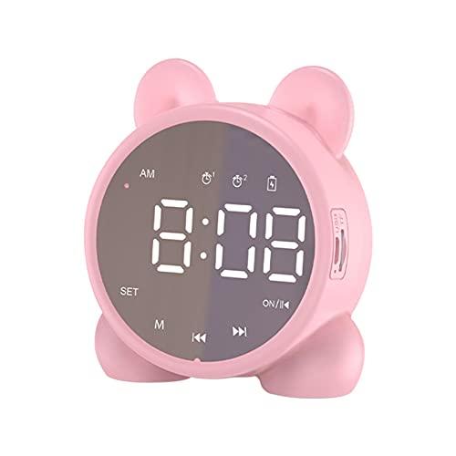Dual Alarm Clock Stereo LED Mirror Screen Bluetooth Speaker Cat Ear USB Rechargeable Kids Alarm Clock Radios(Pink)