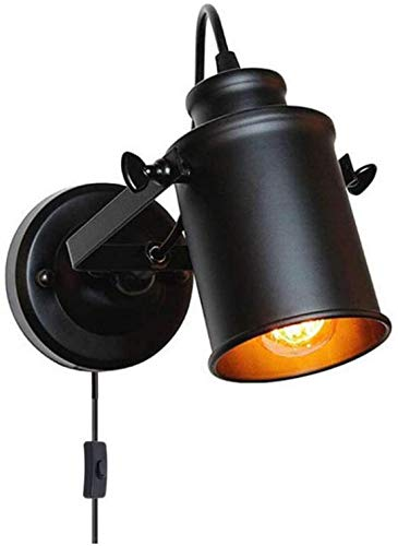 GIOAMH Lámpara de pared negra retro con enchufe y cable, luz de pared vintage, focos de techo LED ajustables, para bares y restaurantes