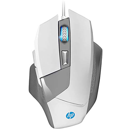HP Gaming Mouse Wired, Ergonomic Game USB Computer Mice LED Lighting, Up to 4000 DPI Programmable Comfortable Grip 6 Buttons [G200] White