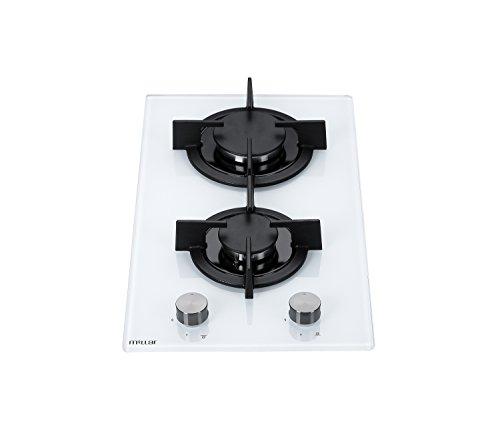 Millar GH3020PW - Placa de cocina de cristal templado con 2 quemadores de gas, 30 cm, color blanco