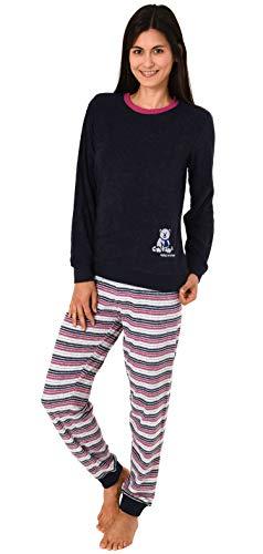 Damen Frottee Pyjama Schlafanzug Langarm mit Bündchen und süsser Bär-Applikation 20113777, Farbe:Navy, Größe2:40/42