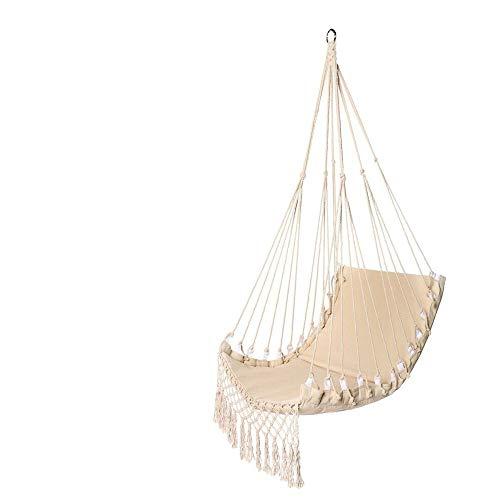 DHTOMC Hamaca colgante para exterior e interior, cuerda de algodón, 150 kg, para camping, viajes, columpio colgante, asiento ancho