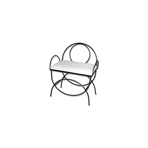 Hogares con Estilo - Banqueta de forja Nacional Modelo Asas y respaldo/604C Color Negro con Asiento pretapizado en Color Blanco. Medidas 60 x 38 x 50 cm de Alto