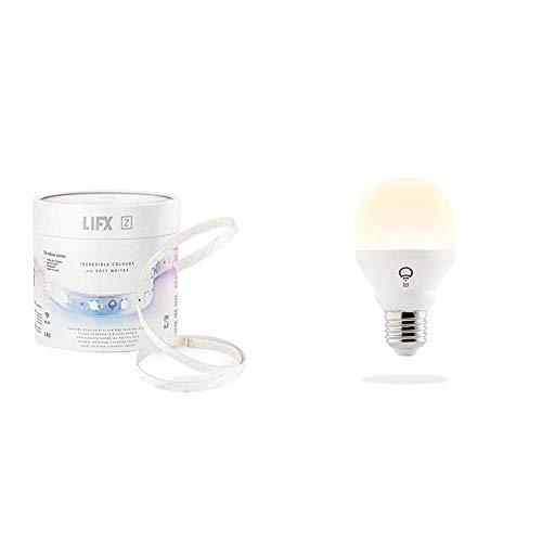 LIFX Z Starter Kit Internazionale Striscia LED Wi-Fi Smart Base + 2 metri di Striscia & Mini White E27 Lampadina a LED Wi-Fi Smart, Regolabile, Bianco Caldo