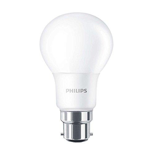 Philips CorePro LED intensidad no regulable cálida esmerilado A60bombilla, color blanco, sintético, Blanco, B22, 8 wattsW 240 voltsV