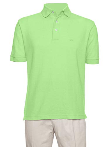 AKA Men's Solid Polo Shirt Classic Fit - Pique Chambray Collar Comfortable Quality Spring Green Large