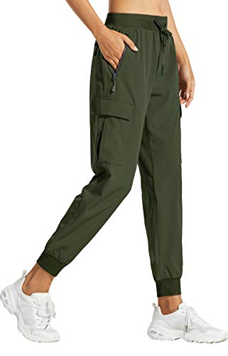 Libin Women's Cargo Joggers Lightweight Quick Dry Hiking Pants Athletic Workout Lounge Casual Outdoor, Army Green L