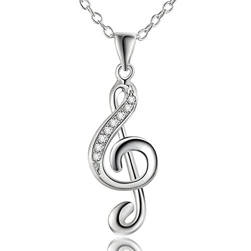 chenchen Collar con inicial para mujer, joyería de moda, elegante, agudos, nota musical, nota de música