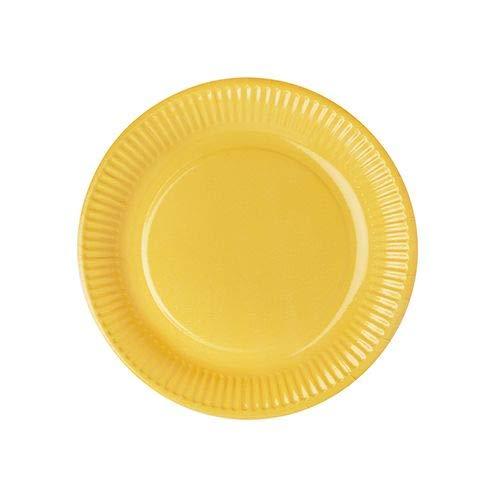 Papstar Pappteller / Einwegteller gelb, rund (50 Stück), Durchmesser 23 cm, aus 100% Frischfaserkarton, für Grillfest, Geburtstag oder Party, Einweggeschirr, #11978