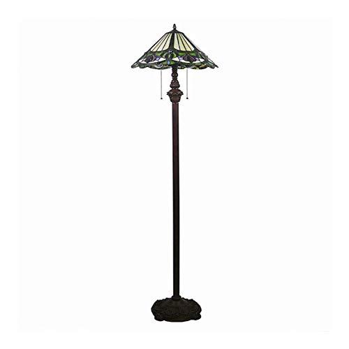 SCAYK Lámpara de pie de vidrieras Estilo con 16 Pulgadas de Ancho Verde Sombra Profunda Lit Lit para lámparas de Sala de Estar para Camas para dormitorios Lámpara de Noche