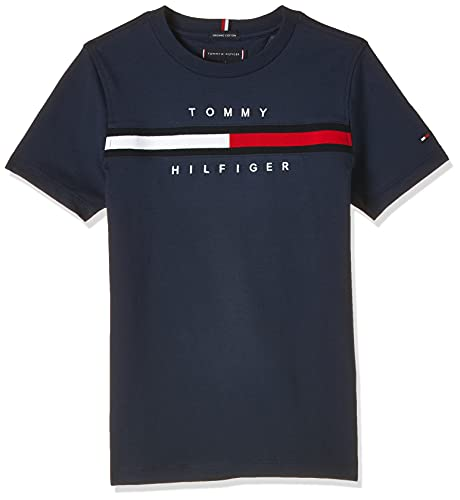 Tommy Hilfiger Flag Rib Insert tee S/S Camisa, Twilight Navy, 12 Meses para Niños