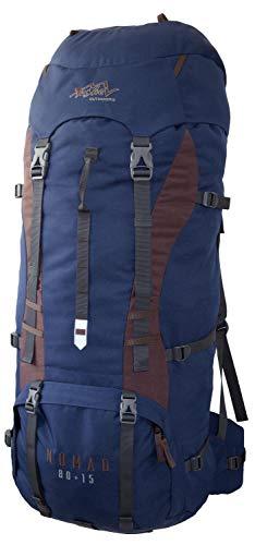 Tashev Outdoors Nomad Sac à dos de randonnée pour homme et femme 80 l + 15 l (fabriqué en UE) (bleu foncé)