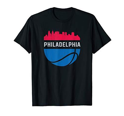 Vintage Philadelphia PA Cityscape Retro Basketball T-Shirt