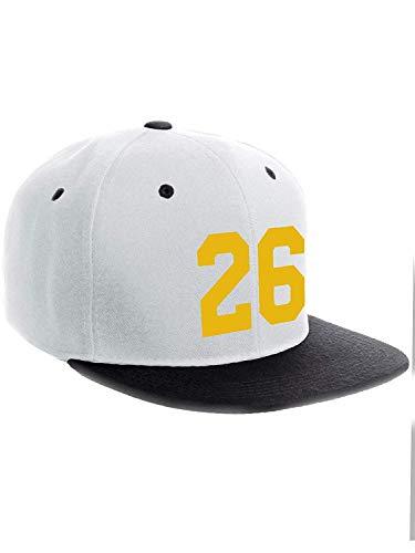Gorra de béisbol clásica con letras de la A a la Z, color blanco y azul marino Number 26 Gold - White Black Hat Taille unique