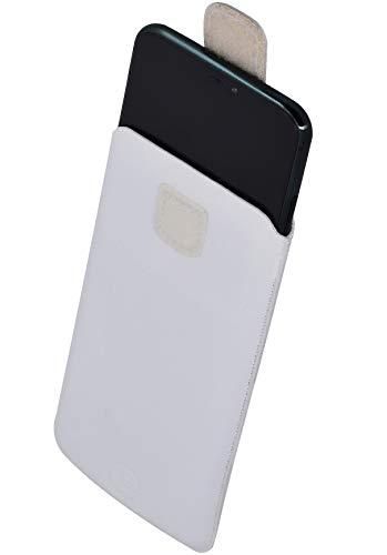 Favory Tasche Etui kompatibel mit TIPTEL Ergophone 6260 Hülle aus echtes Leder Schutzhülle (Lasche mit Rückzugfunktion) in Weiss
