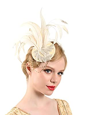 Zivyes 1920s Flapper Fascinator Feather Pillbox Hat Derby Fascinator for Women Tea Party Accessories