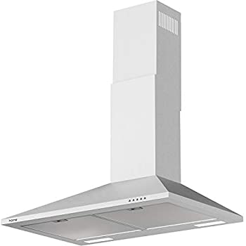 hOmeLabs 30 inch Wall Mount Range Hood Exhaust Fan for Kitchen - Stainless Steel with 3 Suction Speeds LED Lights and Push Button Controls - Clears Area up to 220 CFM