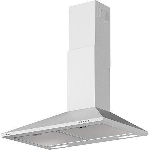 hOmeLabs 30 inch Wall Mount Range Hood Exhaust Fan for Kitchen - Stainless Steel with 3 Suction Speeds, LED Lights and Push Button Controls - Clears Area up to 220 CFM