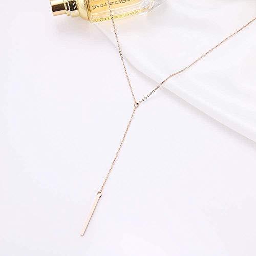 Yiffshunl Collar Mujer Collar Collar de Acero Inoxidable para Mujer Collares con Colgante de Palo Largo Simple para Mujer Amante-Oro rosaPulseras de Collares para Mujeres Hombres Niñas Niños Regalo