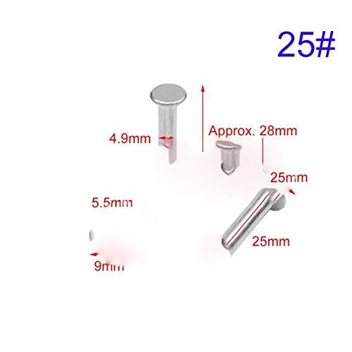 10set Aluminium Binding Chicago Schroeven Nagel Klinknagel Studs Dubbel Gebogen Kop Fotoalbum Accountboek Lederen Craft Riem Portemonnee, 25mm