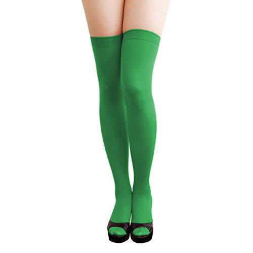 Oblique Unique® Sexy Strumpfhose -halterlos- Overknee Strümpfe - Party Kostüm Fasching Karneval (Overknee grün)