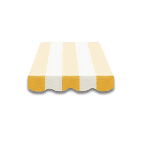 Home & Trends Markisen Volant Markisenbespannung Ersatzstoffe SPD021 Gelb Weiß Maße 3 x 0.23 m / 4 x 0,23 m Markisenstoffen fertig genäht mit Bordeux
