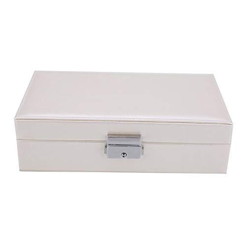 WolfGo Caja de Almacenamiento de Joyas - Caja de Almacenamiento de Joyas portátil de Cuero de PU Caja de Anillo para Pendientes Collares Broches(Blanco)