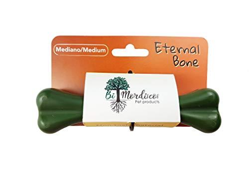 Bio Mordiscos Eternal Bone Juguete mordedor Indestructible para Perros - Seguro - no tóxico - Hueso - Masticar - Entretenimiento - Limpieza bucal (Mediano)