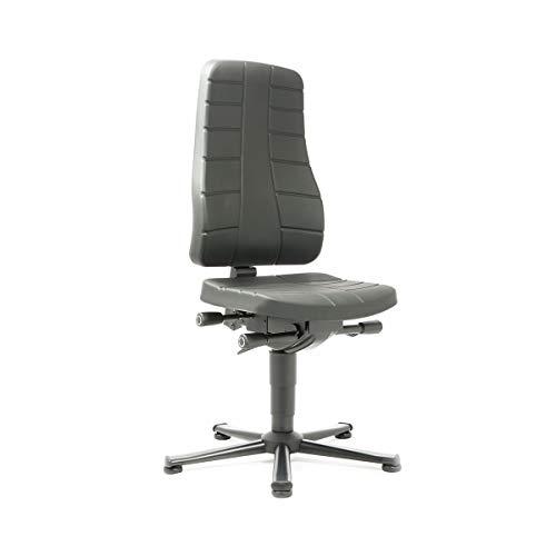 bimos Arbeitsdrehstuhl mit Ergonomiefunktionen - mit Bodengleitern - PU-Schaum, schwarz - Arbeitsdrehstuhl Arbeitsstuhl Drehstuhl Stuhl