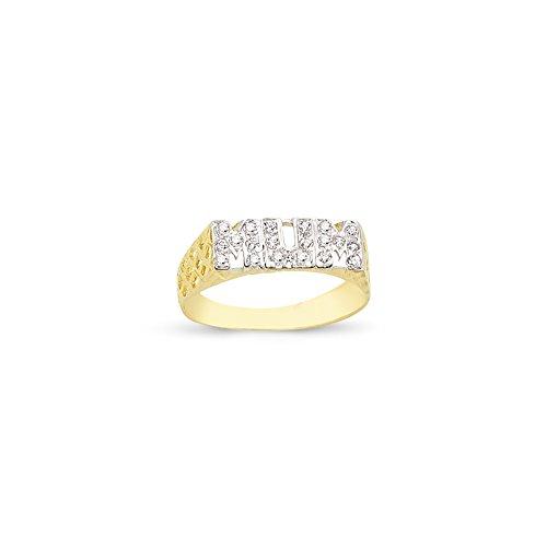 9ct Yellow Gold Cubic Zirconia Mum Ring (T)