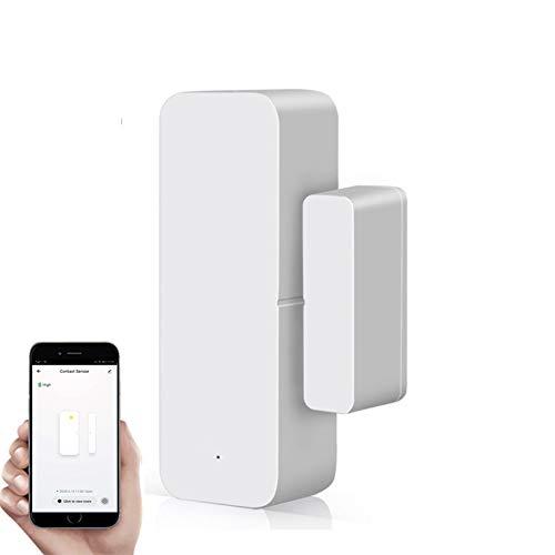 Sensor de puerta y ventana WiFi, alerta de apertura de ventana de seguridad inalámbrica, detector de alarma de puerta magnética compatible con Alexa Google Tuya Smart Life para el hogar, la oficina