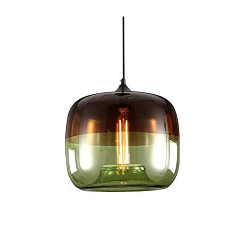 LFsem Moderne Kreative Beschichtung Pendelleuchte Bunte Glas Lampenschirm Deckenleuchte E27 Hängelampe Suspension Beleuchtung Für Bar Cafe Restaurant (Grün)