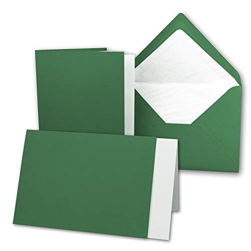 25 x Kartenpaket mit gefütterten Brief-Umschlägen und Einleger - gerippt - DIN A6/C6 - Dunkelgrün - 10,5 x 14,8 cm - Nassklebung - NEUSER PAPIER