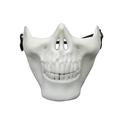 Tinksky Halloween Mask Skull Skeleton Mask Full Face Protector for Cosplay Masquerade Party (White)