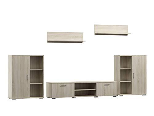Per La Vita Wohnwand Herkules, Schrankwand Wohnzimmer Modern, Wohnzimmerschrank mit Fernsehtisch, Sideboard und Wandregal Wohnzimmer Komplett Möbel - Sonoma/Weiß