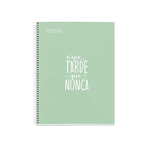 Miquelrius Cuaderno Notebook Messages - 1 Franja de color, A4, 80 Hojas Rayas Horizontales, Papel 90 g, 4 Taladros, Cubierta de Cartón Extra Duro, Color Menta