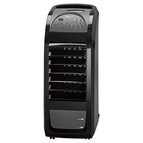 Clatronic LK 3742 Luftkühler, 70 Watt, 3 in 1 – Luftkühler/Luftbefeuchter/Luftreiniger, 4 Laufrollen für den mobilen Einsatz, schwarz