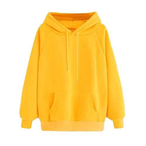 Sweatshirt Kolylong® Damen Elegant Einfarbig Langarm Sweatshirt mit Kapuze Herbst Winter Locker Kapuzenpulli mit Tasche Hoodie Pullover Jumper Oversize Outwear Jacke T-Shirt