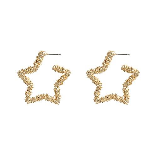 Pendientes de estrella huecos de cinco puntas pendientes de aguja de plata en forma de corazón fresco femenino temperamento pendientes simples y versátiles A