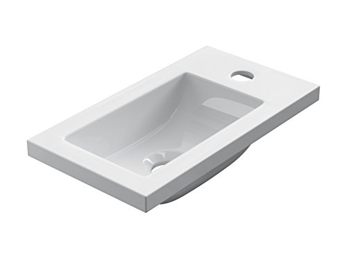 STARBATH PLUS Lavabo De Resina Gel Coat Forma Rectángulo 40 x 22 cm Blanco Brillo SOT40