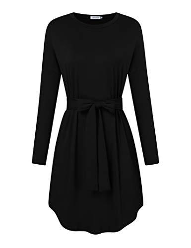 Clearlove Vestido de mujer de manga larga con cinturón (embalaje múltiple) Negro XL